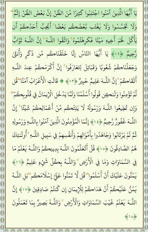 Sura Al-Huyurat , Coran